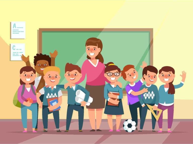 Cartoon of Teacher smiling with a group of students