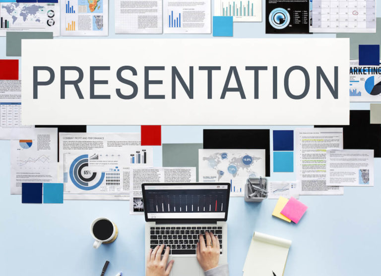 The word 'presentation' surrounded by types of presentations and someone typing on a laptop.