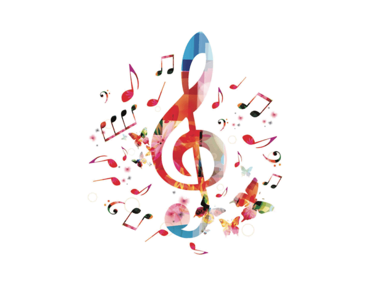 Treble clef with music notes around it