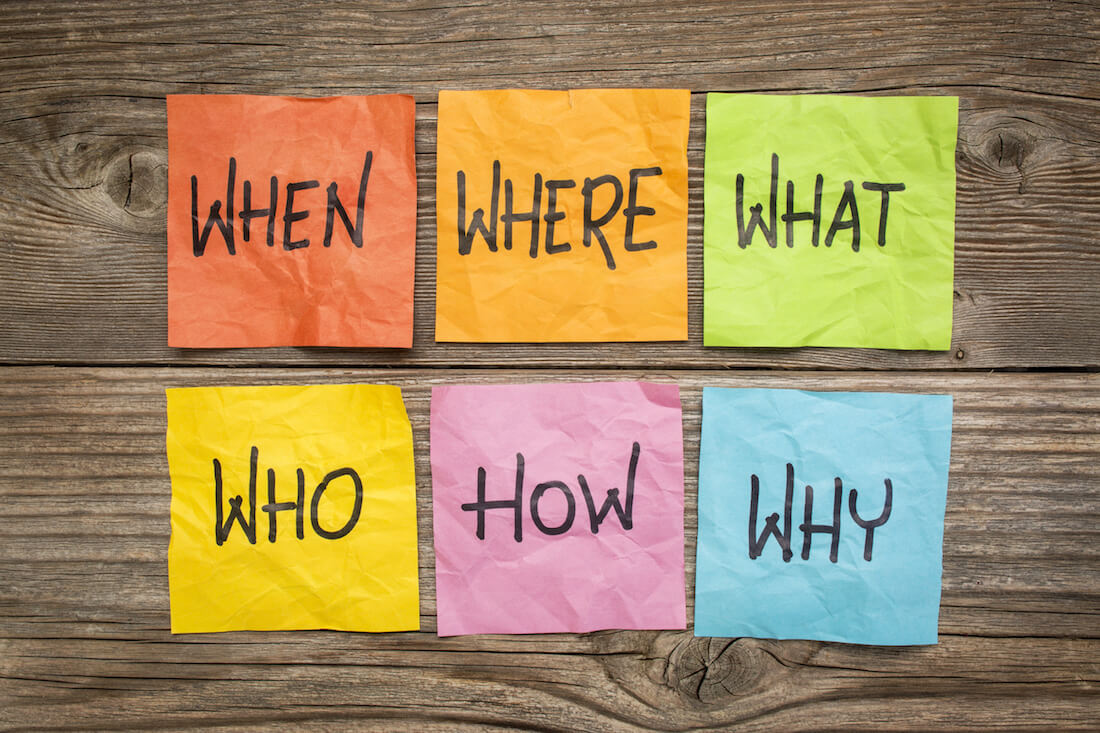 Colorful sticky notes on a table reading 'When, Where, What, Who, How, Why'