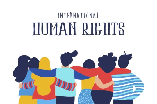 Drawing of a group of people hugging each other with 'International Human