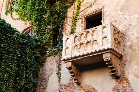 The balcony of Juliet Capulet's home in Verona, Italy