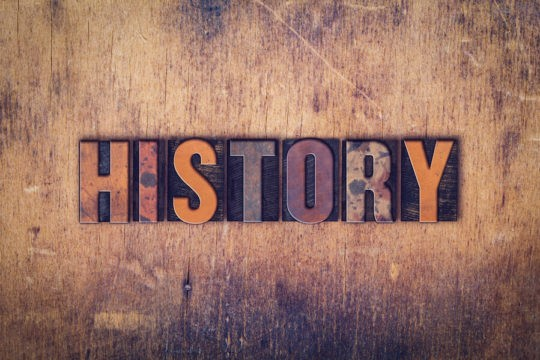 The word 'History' spelled out in vintage letterpress type