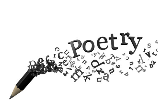 The word 'Poetry' and black pencil fading away into various letters