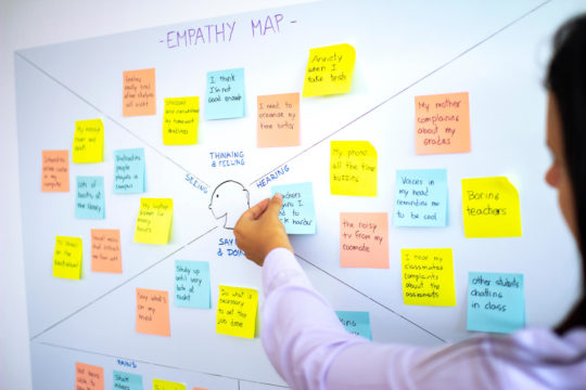 Female teacher sticks post-it notes in an empathy map on a whiteboard.